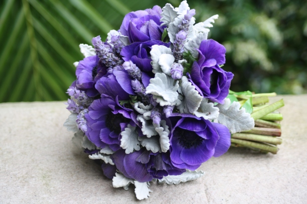 vintage purple bouquet with anemones and lavender