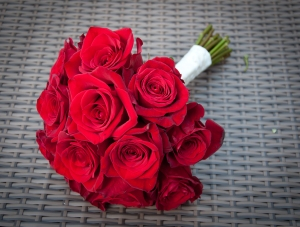 Blown red rose wedding bouquet