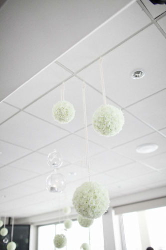wedding ceiling decorations - pomander balls and tealight holders