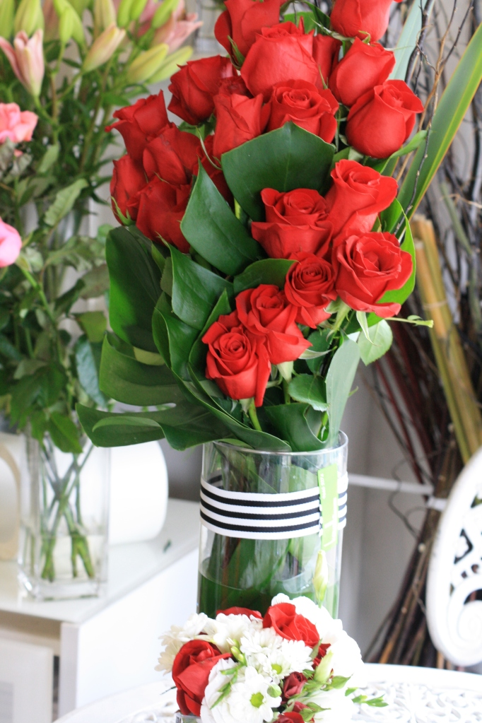 Contemporary red rose arrangement